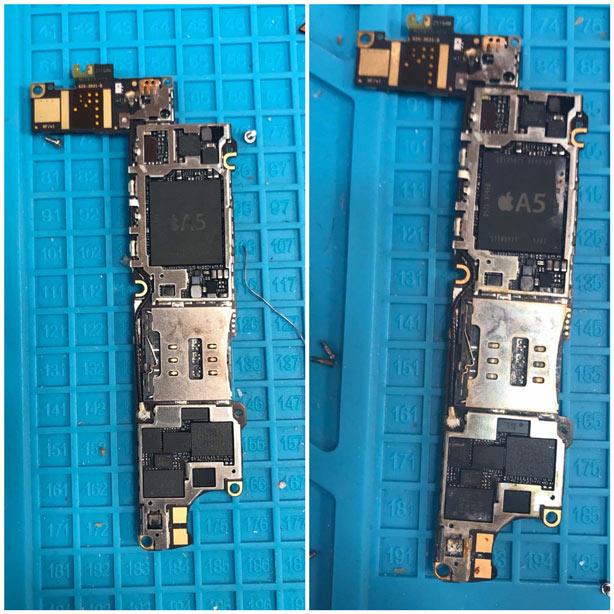 Преди и след почистване на намокрен телефон